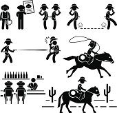 Cowboy Wild West Duel Bar Horse Pictogram
