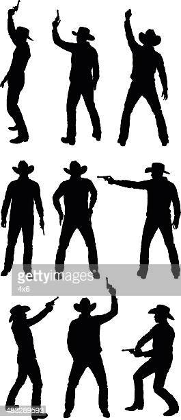 cowboy with handgun - shooting a weapon stock illustrations, clip art, cartoons, & icons