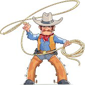 Cowboy with lasso. American Western character