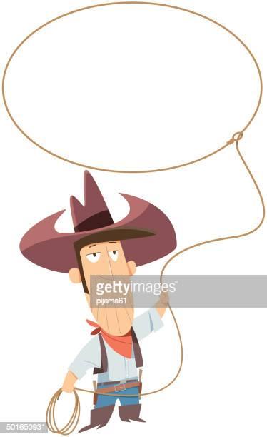 ilustrações de stock, clip art, desenhos animados e ícones de cowboy com laço de corda - cowboy