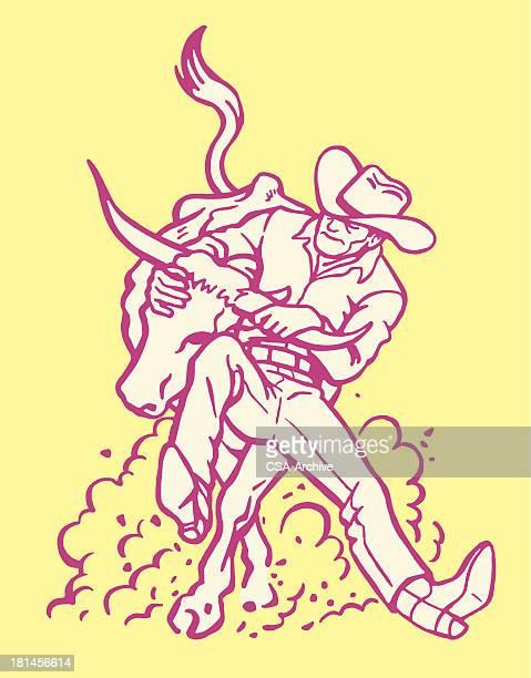 ilustrações de stock, clip art, desenhos animados e ícones de cowboy questiúnculas um novilho - rodeio