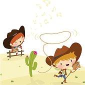 Cowboys, Illustration, Vector.
