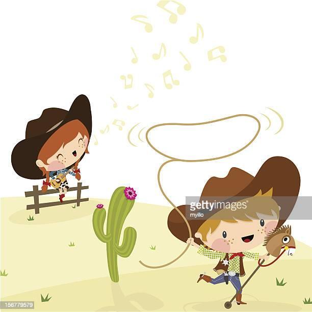 cowboys, illustration, vector. - horseback riding stock illustrations, clip art, cartoons, & icons