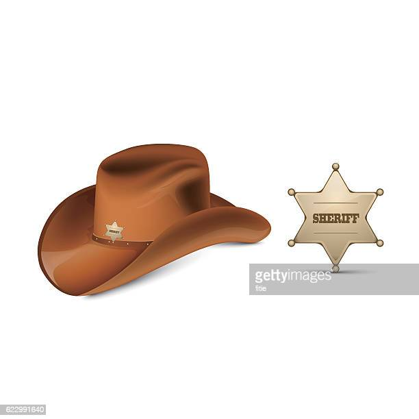 cowboy's leather hat stetson and sheriff's metallic badge - sombrero stock illustrations
