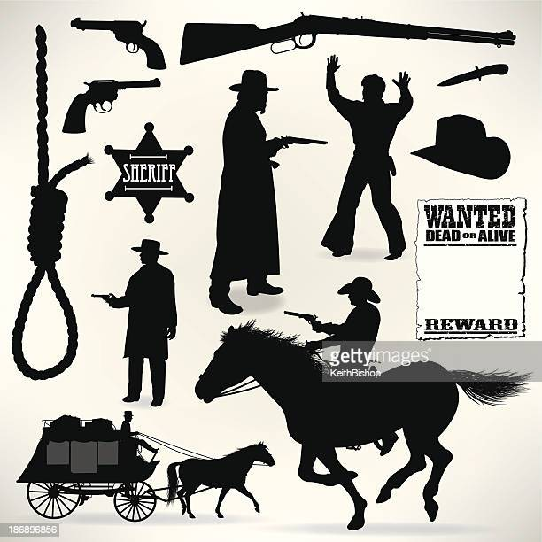 cowboys - sheriff and outlaws, wild west - handgun stock illustrations