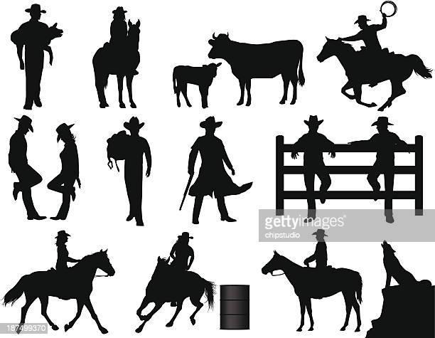 cowboys - horseback riding stock illustrations, clip art, cartoons, & icons
