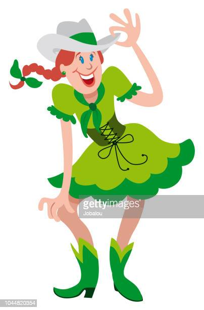 cowgirl dancer cartoon - swing dancing stock illustrations