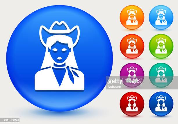 Cowgirl Icon on Shiny Color Circle Buttons