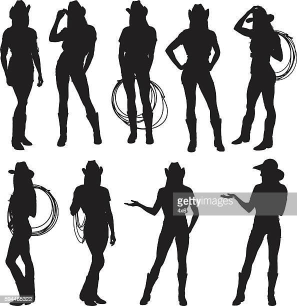illustrations, cliparts, dessins animés et icônes de cowgirl en actions - cowgirl