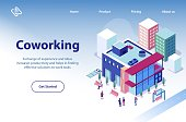 Coworking Business Center Isometric Vector Website