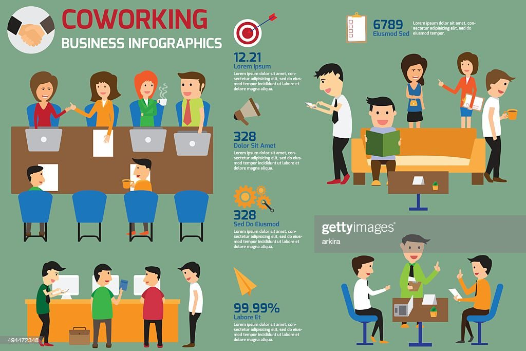 coworking business team infographics elements