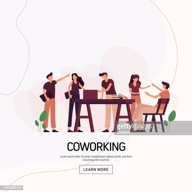 coworking concept vector illustration for website banner, advertisement and marketing material, online advertising, business presentation etc. - employee engagement stock illustrations