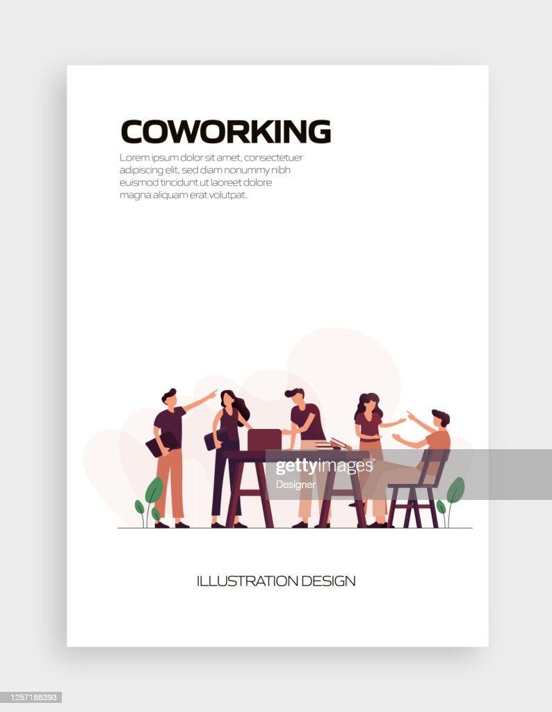Coworking Concept Vector Illustration For Website Banner ...