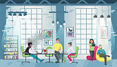 Coworking office concept design for web banners, infographics