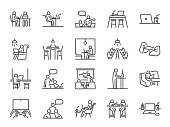 Co-working space line icon set. Included icons as coworkers, coworking, sharing office, business, company, work and more.