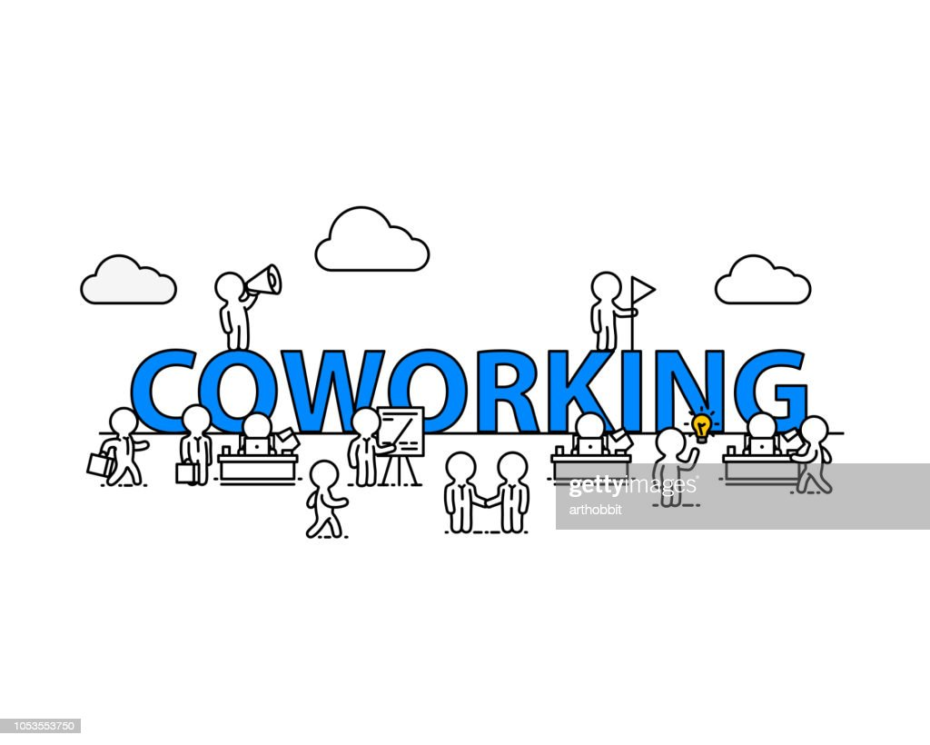 Coworking text work office with people.