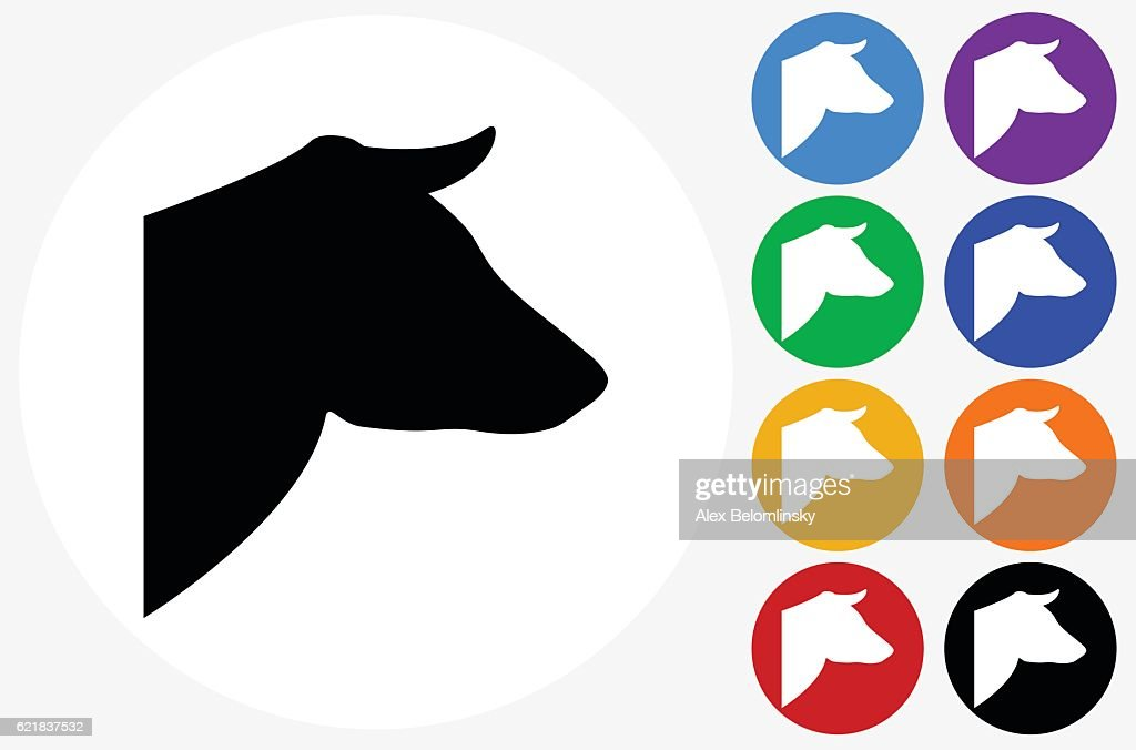 Cows Head Icon On Flat Color Circle Buttons Vector Art Getty Images