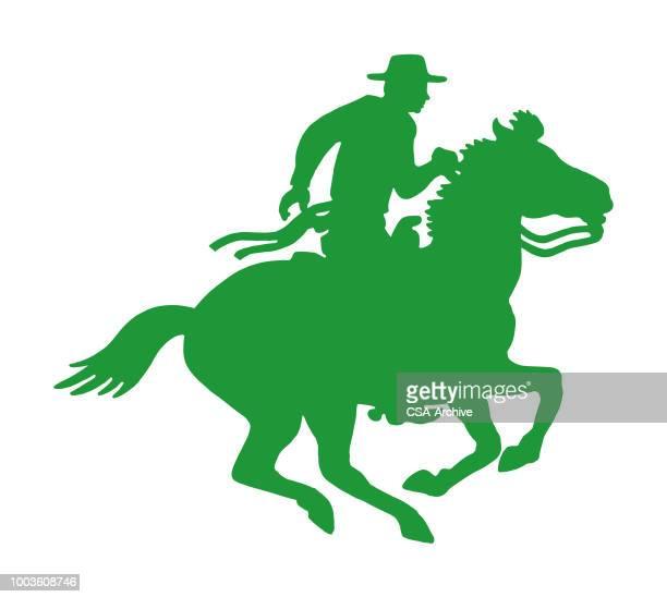 coyboy riding horse - horseback riding stock illustrations, clip art, cartoons, & icons