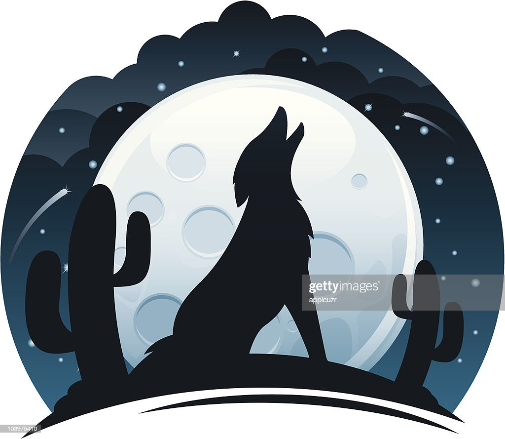 Coyote Howling at Night : stock illustration