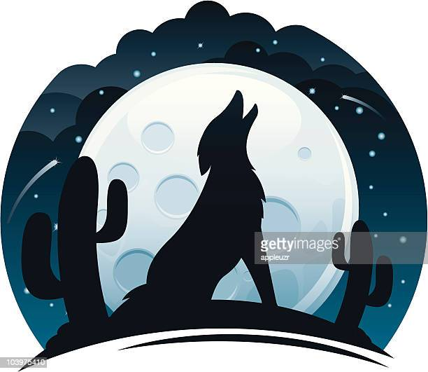 coyote howling at night - howling stock illustrations, clip art, cartoons, & icons