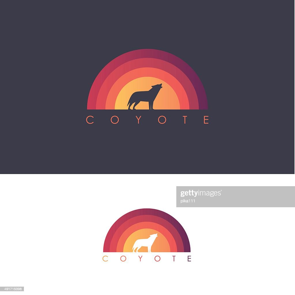 Coyote logo design mark- wolf howling on abstract colorful sunset