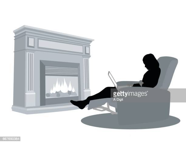Cozy Fireplace Laptop