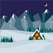 Cozy house at night against the backdrop of winter snowy mountains. Illustration in flat style