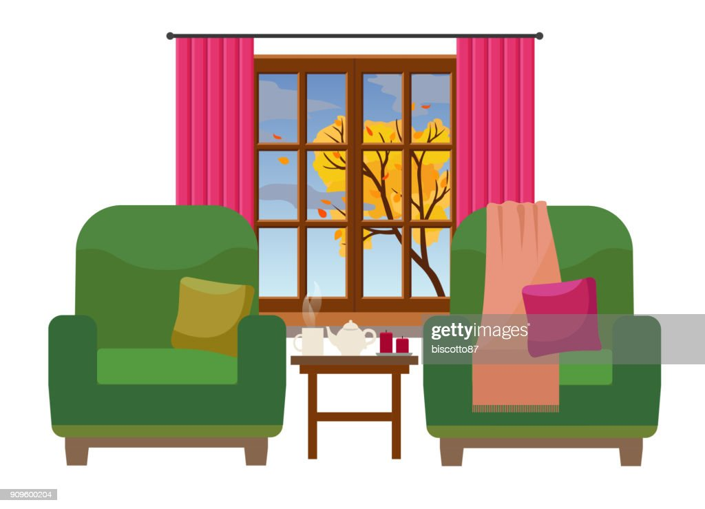 Cozy Interior with two elegant armchairs and a window with tree