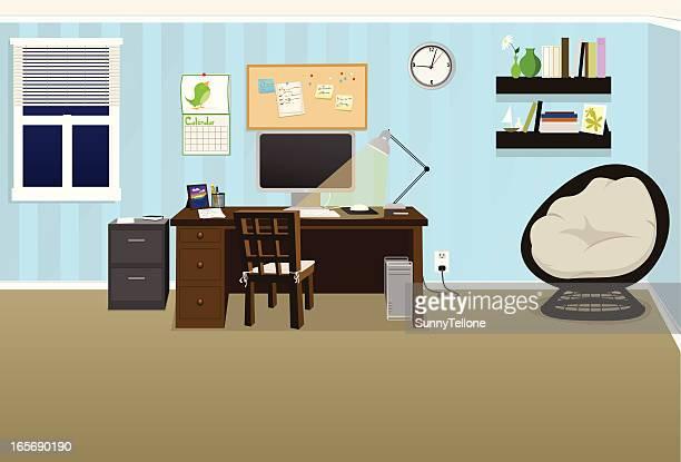 ilustraciones, imágenes clip art, dibujos animados e iconos de stock de acogedor de oficina - tarjeta de archivo
