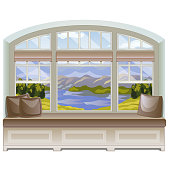 A cozy place for leisure activities or reading books by the windowsill with a view of the mountains and the lake. Ideas of interior design window. Vector illustration