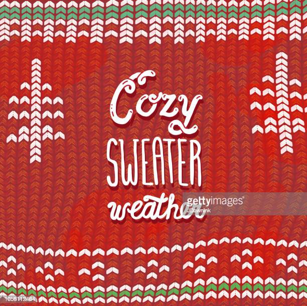 cozy sweater weather phrase greeting card design banner with hand lettered text - sweater stock illustrations, clip art, cartoons, & icons