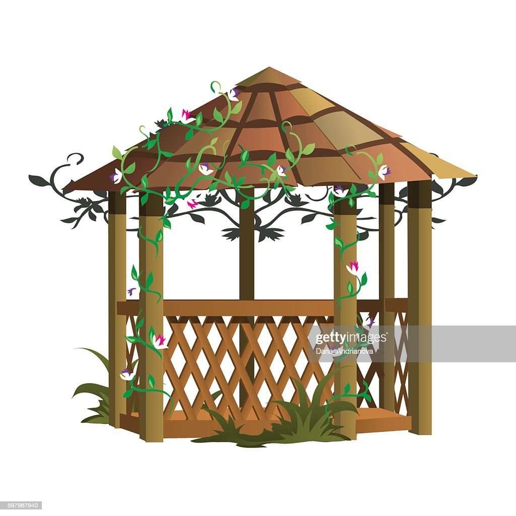 Cozy wooden gazebo with flowers, landscape decor