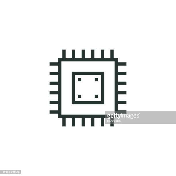 cpu ライン アイコン - コンピュータハードウェア点のイラスト素材/クリップアート素材/マンガ素材/アイコン素材