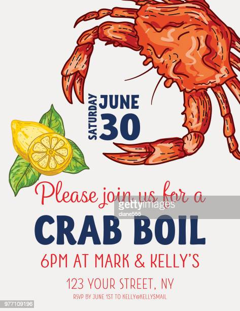 crab boil invitation template - crab stock illustrations