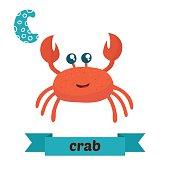 Crab. C letter. Cute children animal alphabet in vector