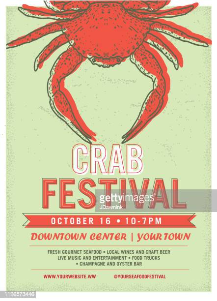 crab festival advertisement poster design template - crab stock illustrations