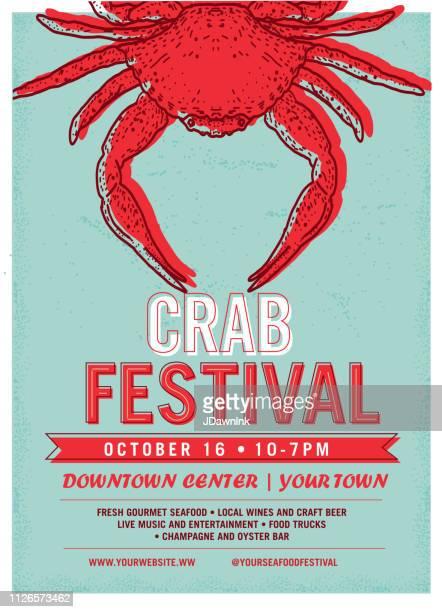 Crab Festival advertisement poster design template