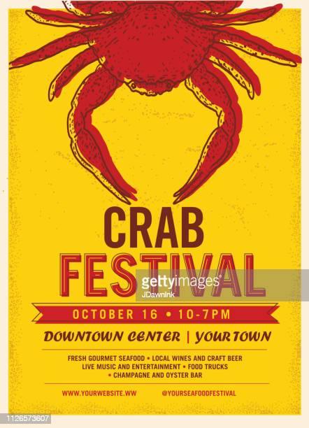 illustrations, cliparts, dessins animés et icônes de modèle de conception affiche festival du crabe publicité - crabe