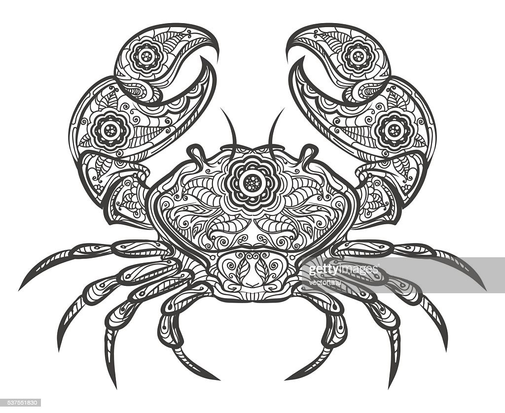 Crab icon. Vector hand drawn crab