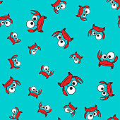 Crab seamless pattern in cartoon style