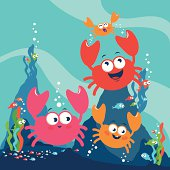 Crabs and fish in the sea