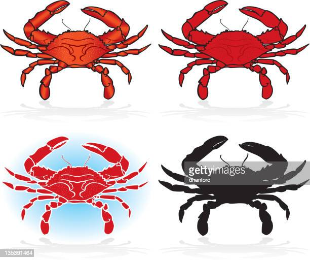 crabs, design elements detailed and silhouette - crab stock illustrations