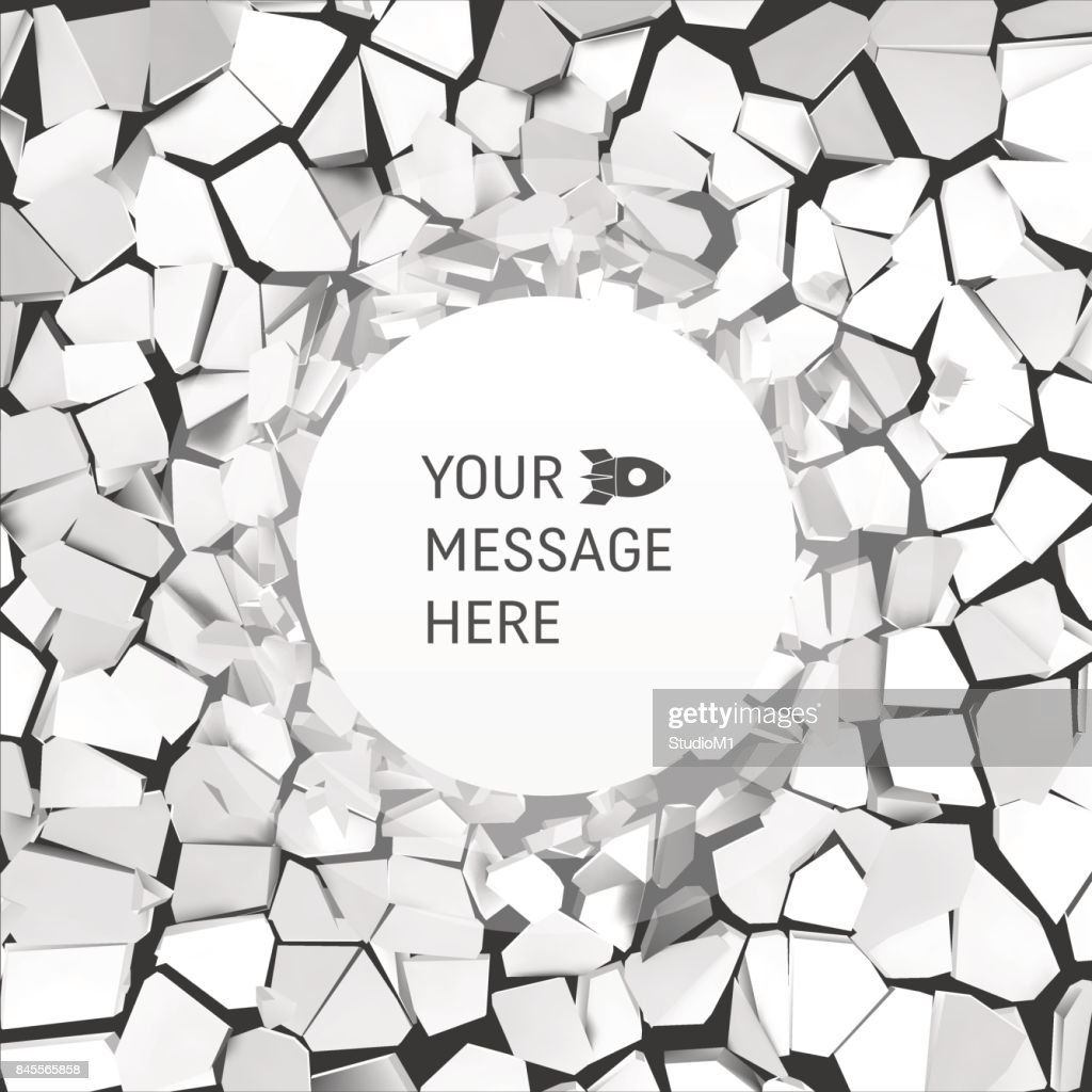 Cracked Background. Vector Illustration. Pattern with Optical Illusion. Vector Illustration. Abstract Background with Place for Text.