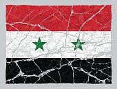 Cracked broken grunge textured flag of Syria