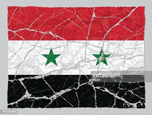 cracked broken grunge textured flag of syria - syria stock illustrations