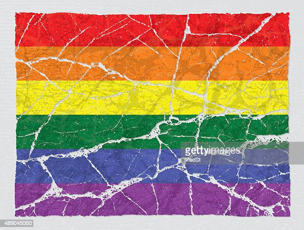 cracked broken lgbt rainbow gay pride flag - broken stock illustrations, clip art, cartoons, & icons