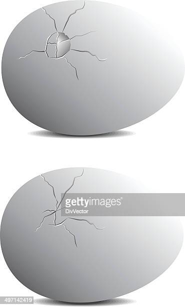 cracked egg - cracked stock illustrations