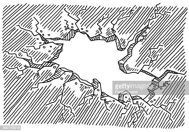 rissige wand loch-zeichnung - ausgemalte federzeichnung stock-grafiken, -clipart, -cartoons und -symbole