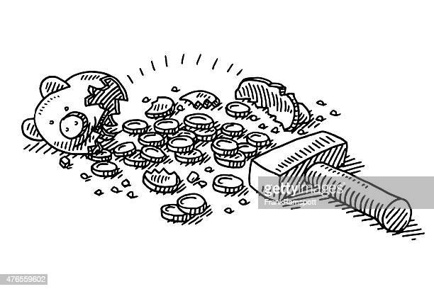 Cracking Piggy Bank Coins Drawing