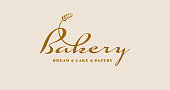 Craft Bakery Symbol. Bread, Cake, Pastry Shop or Cafe Vector Premium Sign.